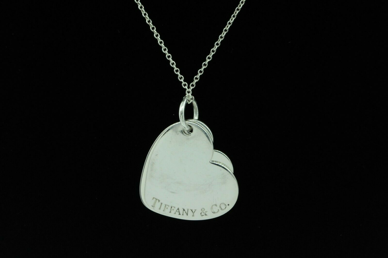"TIFFANY & CO. Sterling Silver Double Heart Pendant (18"")"