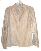 Croft & Barrow Beige on Beige Floral Print Jacket Top w/Zip Up Front Sz PL - $25.64