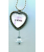 love you to the moon and back heart necklace silver ball chain handmade ... - $5.99