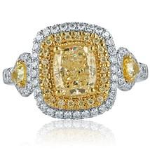 2.20 TCW Yellow Cushion Cut Pear Side Diamond Engagement Ring 18k White Gold - $4,751.01