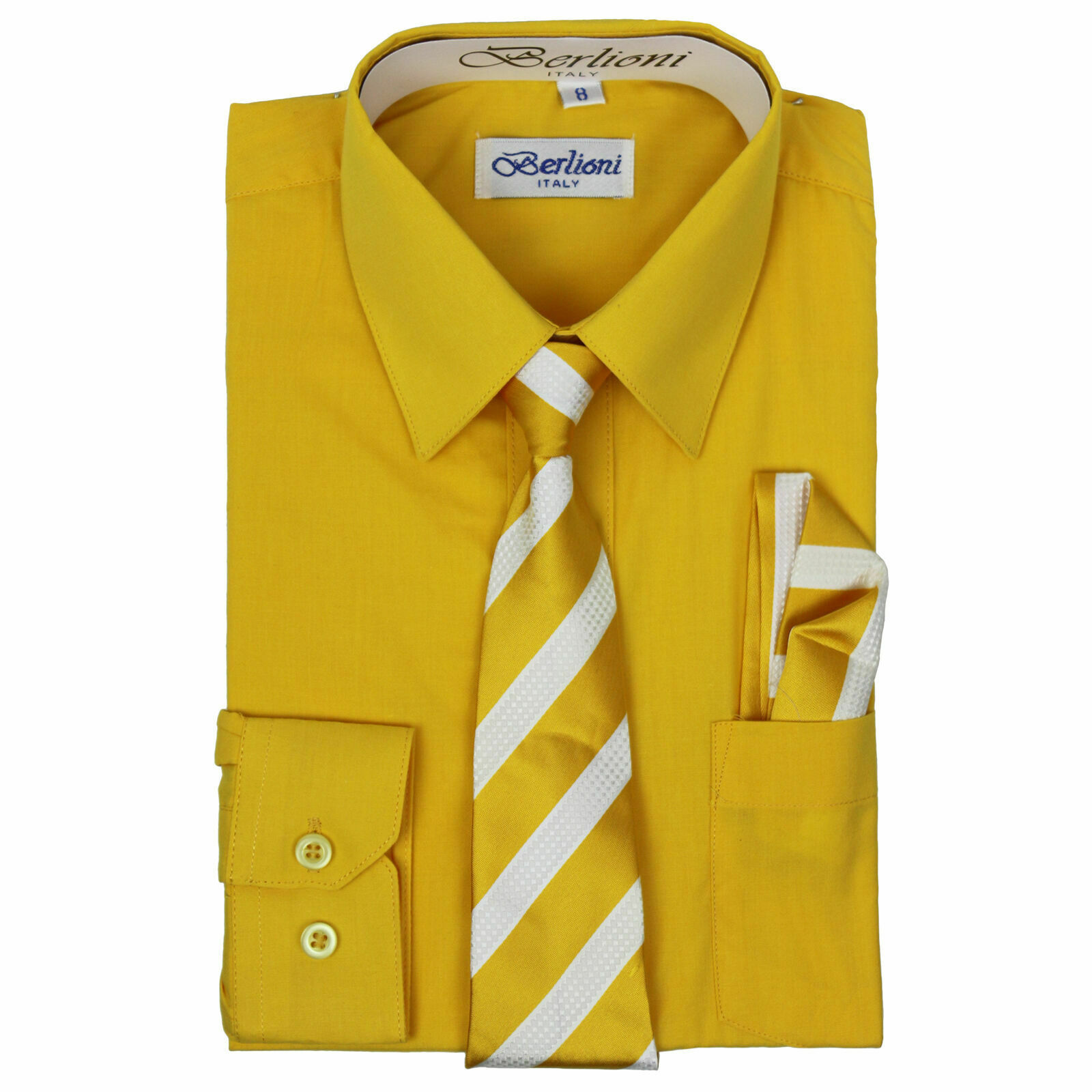 Berlioni Italy Kids Boys Long Sleeve Gold Dress Shirt Set With Tie & Hanky - 16
