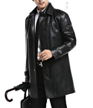 Winter Men Leather Coat Tailor Made Real Genuine Leather Trench Coat -18 - $180.50