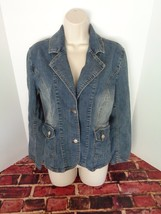 R4R RAVE Jeans Jacket Blue Denim Jacket Coat Casual Grunge Distressed Si... - $19.34