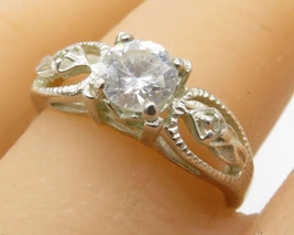 AVON 925 Sterling Silver - White Topaz Floral Leaves Band Ring Sz 9 - R2309 - $27.60