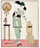 "20x30""Poster on Canvas.Interior design Art.Deco fashion.Green dress.Dog.... - $60.78"