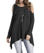 Adreamly Women's Cold Shoulder Long Sleeve Swing Loose Fit T-Shirt Tunic... - $28.07