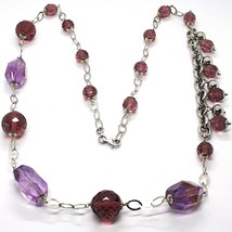 Necklace Silver 925, Fluorite Oval Faceted Purple, Length 80 CM - $208.42
