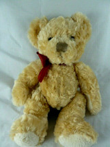 "Russ Berrie Plush SPENCER Teddy Bear Golden Tan  Burgundy ribbon 10"" VER... - $12.86"