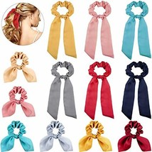 12 Pieces Satin Hair Scrunchies Ribbon Bow Scarf Hair Ties Includes 6 Pieces Sat