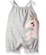 Mud Pie Baby Girls Unicorn Flutter Sleeve Bubble Romper Playwear, Gray, ... - $35.21