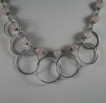 .925 SILVER RHODIUM NECKLACE WITH PINK QUARTZ AND SILVER CIRCLES PENDANT image 3