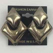 Vintage Clip On Door Knocker Earrings Modernist Silver Tone Doorknocker ... - $16.79