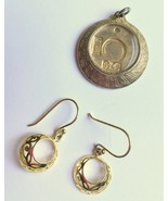 Gold Concave Sphere Dangle Earrings, Gold Plate Filigree Spheres, French... - $6.50