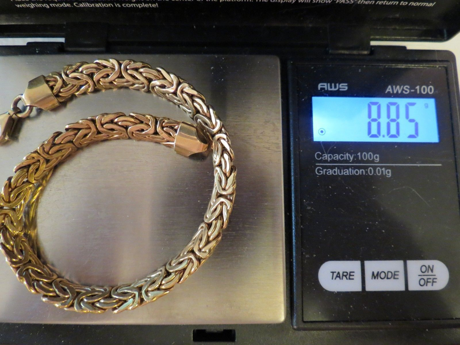 "14k Yellow Gold Bracelet Turkey Byzantine 8.85g Marked AK 6mm  8"" Long Lobster"