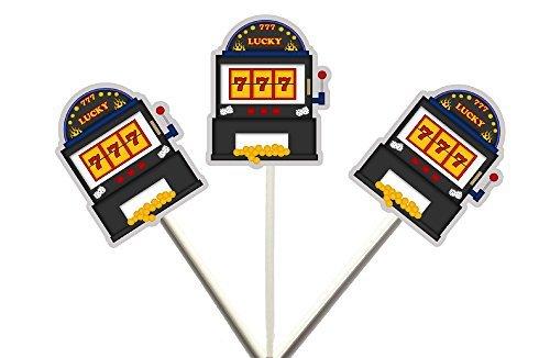 Crafty Cue Slot Machine Cupcake Toppers, Slot Machine Birthday, Slot Machine Dec - $11.99