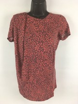 Victor Alfaro Womens S Leopard Print Soft Stretch Shirt Designer Top Fits M & L - $17.42