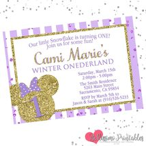Lavender Minnie Mouse Onederland 1st Birthday Invitation Personalized Gold  - £0.76 GBP