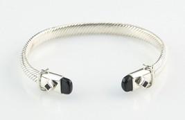 """Argent Sterling Câble Bouton de Manchette Bracelet W / Onyx Accents 7 """" ... - $178.60"""