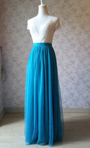 Blue Casual Wedding Skirt A Line Long Tulle Blue Bridesmaid Skirt Plus Size  - $49.99