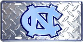 North Carolina Tar Heels Diamond Pattern Metal License Plate Auto Tag - $6.95