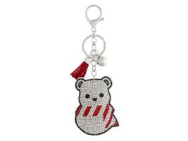 Snow Seal Pup Faux Suede Tassel Stuffed Pillow Key Chain Handbag Charm - $12.95