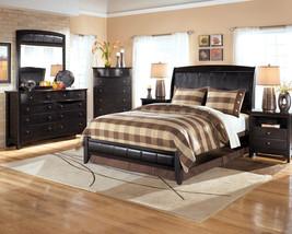 Claire 5 piece modern design black finish bedroom set w - 5 piece queen sleigh bedroom set ...