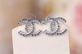 AUTH NEW CHANEL 2019 Classic CC Bi-Color Blue Crystal Silver EARRINGS image 6