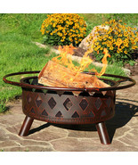"30"" Fire Pit Steel with Bronze FInish Crossweave with Spark Screen - $250.00"