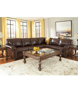 MILLER Traditional Brown Leather Living Room Large Sectional Sofa Couch ... - $2,469.71
