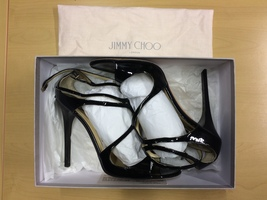 Jimmy Choo Lance Black Patent Leather Sandals Size 41 - $179.00