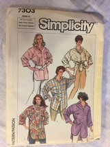 1986 Simplicity Sewing Paytern 7303 SZ S-XL Big Shirt Incut - $5.45