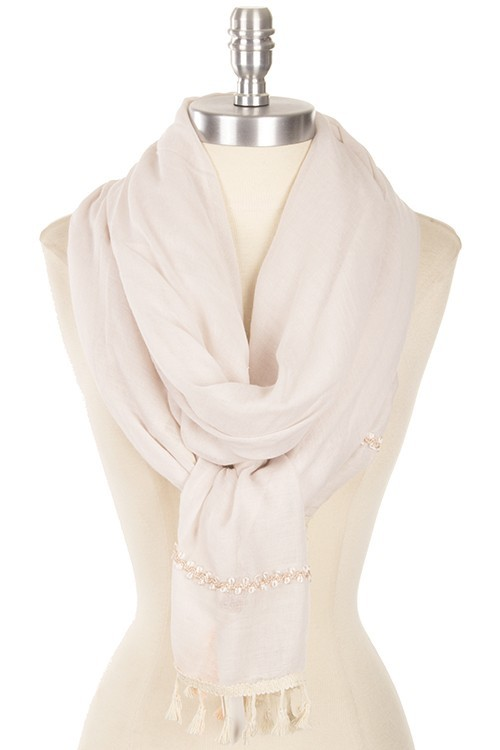 Beige Decorative Tassel Scarf, Neutral Scarf with Tassels, Layering Scarf