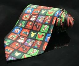 Addiction Christmas Holiday Party Colorful Black Necktie Tie Crazy Colors - $11.95