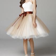 Knee Length Tutu Tulle Skirt Women Ruffle 6 Layered Knee Tulle Skirt A Line  image 10