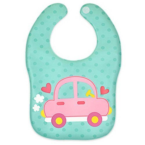 2 Pcs Cartoon Car Soft and Comfortable Baby Bibs Waterproof Pocket
