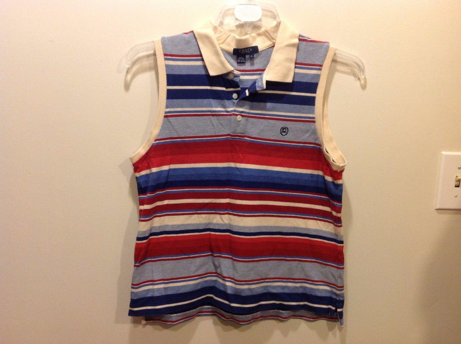 CHAPS Classy Horizontally Striped Sleeveless MultiColor POLO Shirt Sz LG