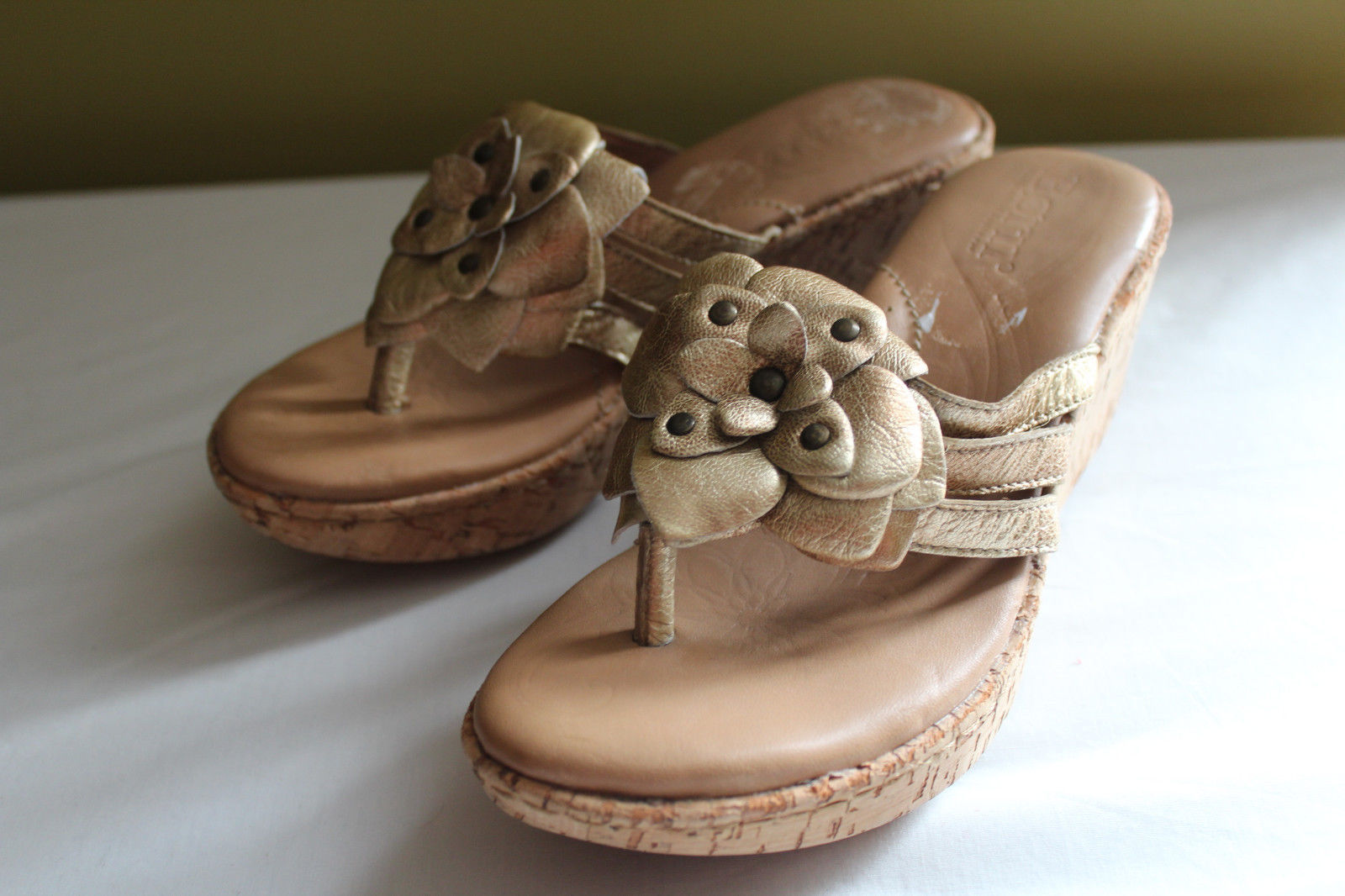 c6361149726a Born Crown Leather Gold Metallic MIA 1 Cork Wedge Sandals 6 36.5  105