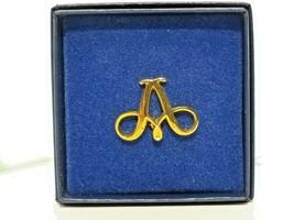 "VINTAGE  ""A"" Script Letter PIN  70s Brooch Lapel Gold Tone  NIB  - $11.87"