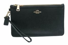 Coach Womens Black Cross grain Leather Double Zip Clutch Wallet F12081 8... - $84.14
