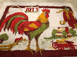 Vintage 1973 Calendar Dish Towel Linen Rooster Farmhouse Kitchen Fall pu... - $13.81