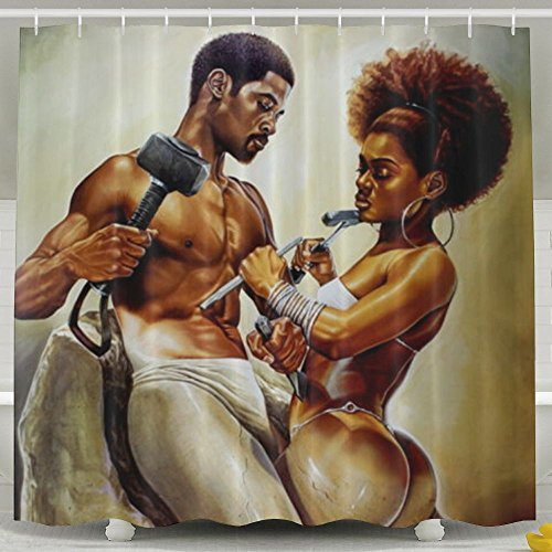 SARA NELL Shower Curtain Liner African Couple Lover Sculpture Art Oil Painting B