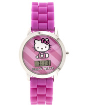Sanrio Kids Hello Kitty Pink Silicone Strap Watch with Molded Head Storage Case image 1