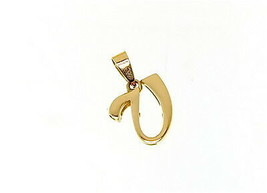 18K YELLOW GOLD LUSTER PENDANT WITH INITIAL V LETTER V MADE IN ITALY 0.71 INCHES image 1