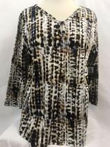 Anne Klein Sport Medieval Blue Multi V Neck Knit Shirt, Women's Size XL NWT - $23.75