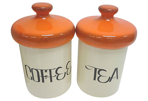 Mid-Century Orange Ceramic Kitchen Canister Set of Four