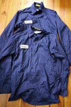 "Pair 2 UniFirst Navy Blue Cotton Blend Long Sleeve Work Shirts M ""Norman... - $20.78"