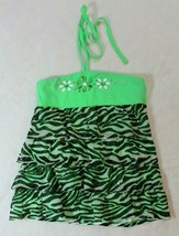 Justice Girls Top Sz 10 Green Black Zebra Stripes Beaded Tie Around Neck... - $17.81