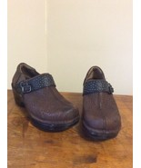 ARIAT SHEILA BROWN MAHOGANY LEATHER TOOLED CLOGS 9.5 B COMFORT MEDICAL C... - $28.95