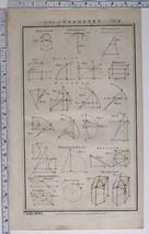 1788 ORIGINAL PRINT GEOMETRY VARIOUS DIAGRAMS DIVISION DIVISIBILITY EVOLUTE - $118.77