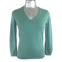 BCBG Max Azria Med Silk Cashmere Sweater Top Blue Green 3/4 Sl V Neck Wo... - $19.95